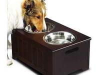THIS DOG BOWL WITH STORAGE SPACE INCLUDED, IS GREAT FOR