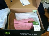 I am selling brand new John Deere tan/pink Wellington