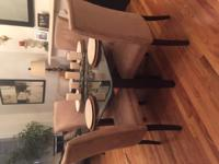 Brand new glass and stone table with chairs and