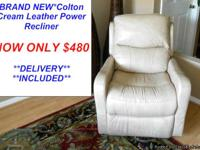 Cream Leather Electric Power Reclining Chair