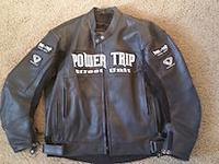 This is a brand new full leather motorcycle jacket that