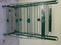 HERE IS A BEAUTIFUL GREEN METAL 4 SHELF UNIT ON CASTERS