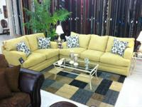 BRAND NEW SIMMONS DESIGNER YELLOW SOFA AND LOVE SEAT
