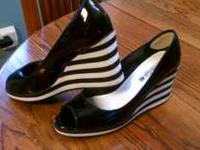 Black and white peep toe wedges -- $20 Black heeled