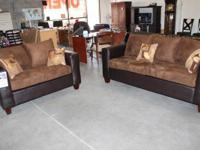 BRAND NEW VINYL AND SUEDE COUCH WITH LOVE SEAT FOR