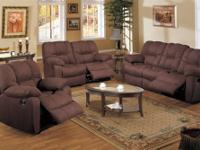 This sofa set is a beautiful dark chocolate bonded