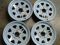 "i have 4 brand 15"" new trailer wheels that are the 5"
