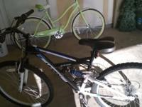 One boys 18 speed 26 inch bike and one girls beach bike