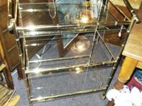 Sturdy brass and glass rolling etegiere stand w/ 3
