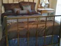 Old brass bed with original box spring ($399). Old oak