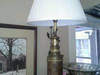 Heavy little cast brass table lamp with burlwood look