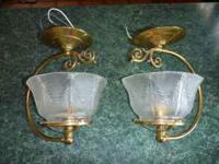 Two brass ceiling fixtures, antique sconce design. Paid