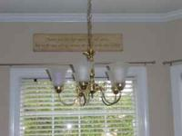Brass Chandelier over kitchen table for sale. Works