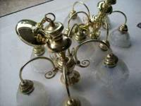 2 Brass Chandeliers. Call . Work great. $10 each or $15
