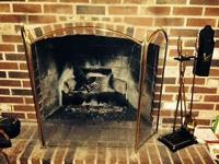 Heavy brass fireplace tools, match holder, and free