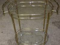 Brass/Glass Art Deco Bamboo Serving Tray More than 10