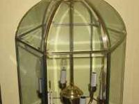 Large Brass/Glass hanging light fixture for foyer,