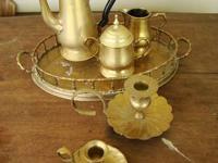 "Brass serving tray, 8 1/2"" x 12 1/2"" Brass Tea pot, 8"