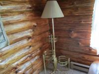 Brass Lamp with 3 Glass platforms for plants or
