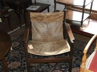 Brazilian leather sling chair on rosewood frame. Made