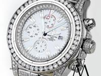 Diamond Breitling Super Avenger Watch White Index Dial