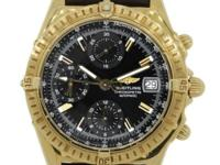 Dial: Black chronograph dial with gold hands, gold hour