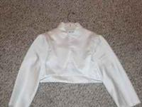 From David's Bridal, satin jacket for sale. 3/4 sleeve