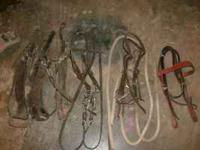 Assorted Bridles, bits breast collars Saddle Bags