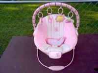 "Bright Starts ""Pretty in Pink"" bouncy seat in good"