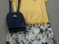 Lg. yellow top with beaded trim bk wt and yellow skirt