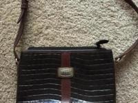 Brighton Black Croc Leather Cross Body or Shoulder Bag.