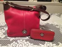 Dooney & Burke red leather purse in excellent condition