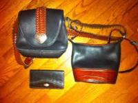 Two Brighton black leather purses w/brown leather
