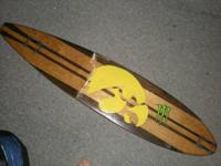 For sale is a hand made wooden long skateboard. The