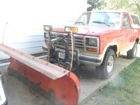 1986 Ford Bronco with snow blade.  Works great at
