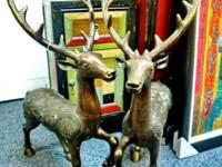 Old bronze Chinese dragon deer come in pair with the