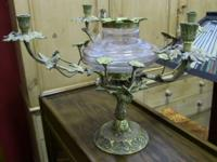 Excellent candleholder centerpiece with brass leaf and