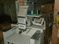 9 COLOR, SINGLE HEAD, COMMERCIAL EMBROIDERY MACHINE.