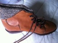 Brown Ankle Boots Size 6.5 Brand New Wool ankle cuff