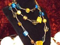 "Brown & Blue Glass Hand Knotted Necklace 52"" For more"