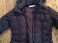 Larry Levine brown down coat with hood. Used only a few