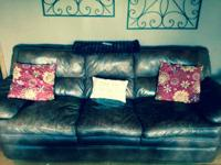 Super comfortable brown leather couch for sale.