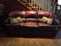 We have a brown leather couch for sale. The couch is