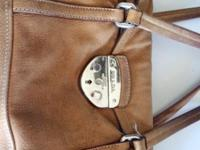 previously-worn and loved brown leather Prada bag, 7""