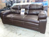 New Brown Leather Sofa, Love Seat, and Recliner. Sofa