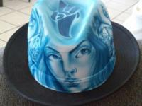 Hand made in Mexico, Culture air brushed stovepipe hat.