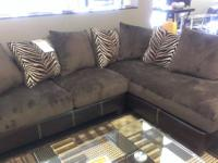 BEAUTIFUL 2 PIECE BROWN SECTIONAL.  FABRIC IS CHAMPION