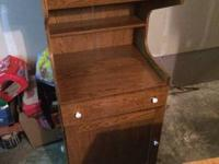 Brown wood colored Microwave stand -- good shape, on