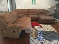 Brown Microfiber Sectional. Seats 5+2 Recliners with