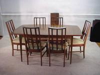 Danish modern dining table and 6 chairs made by